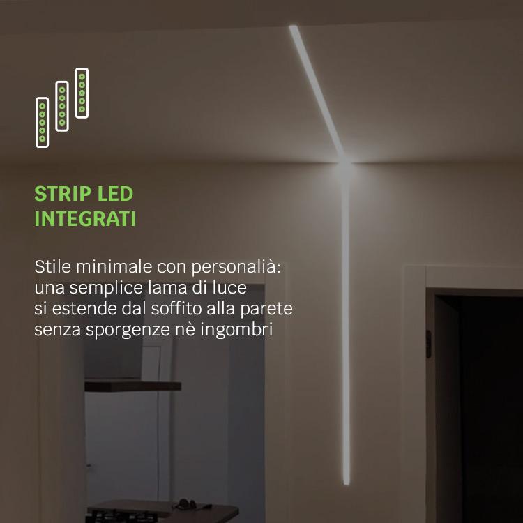soffitto e parete con luce